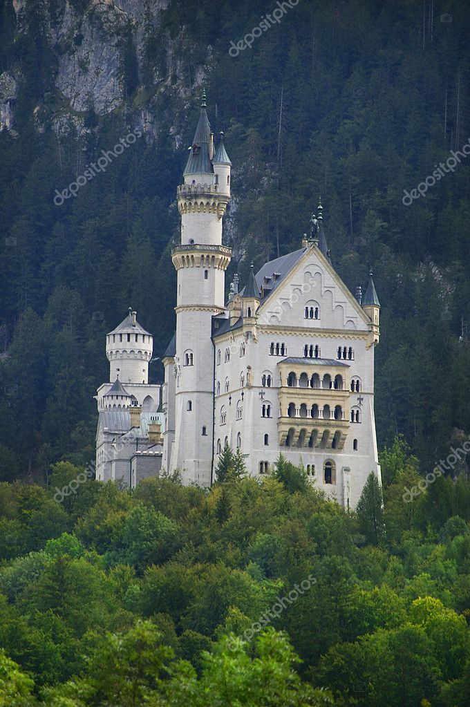 Castle neuschwanstein in forest mountain