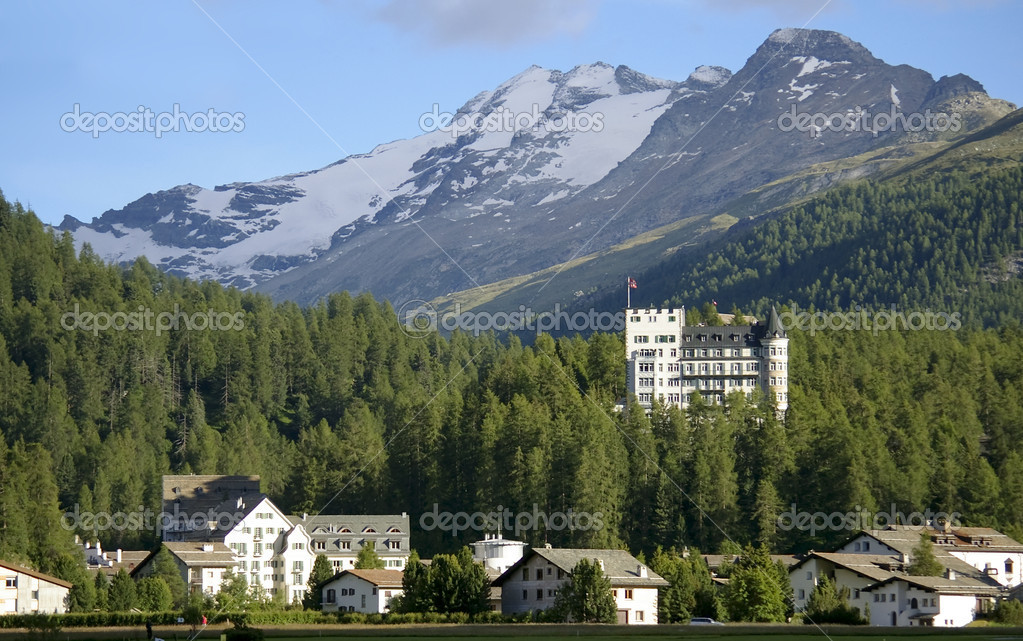 Hotel building in mountain resort davos