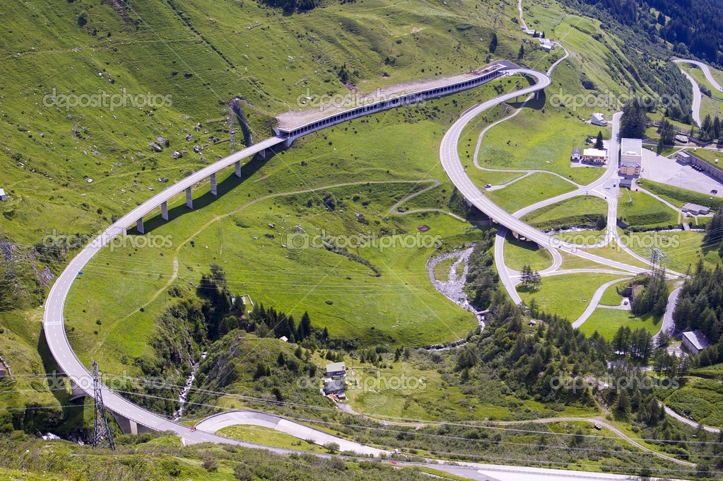 Mountain road and tunnel in italian alps