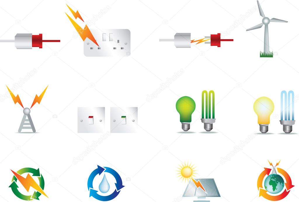 electric power icons  u2014 stock vector  u00a9 joingate  1973298