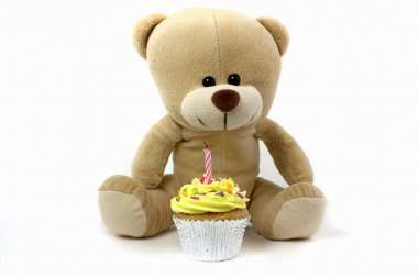 Teddy and cupcake wth 1 candle,