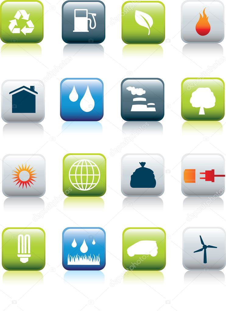 Eco environment icon set
