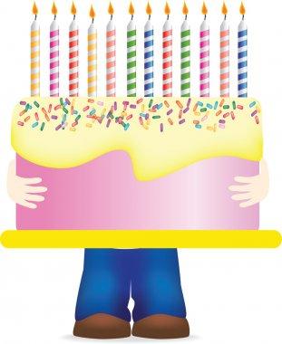 Carrying huge birthday cake