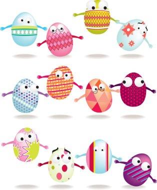 Easter egg cartoon icon set