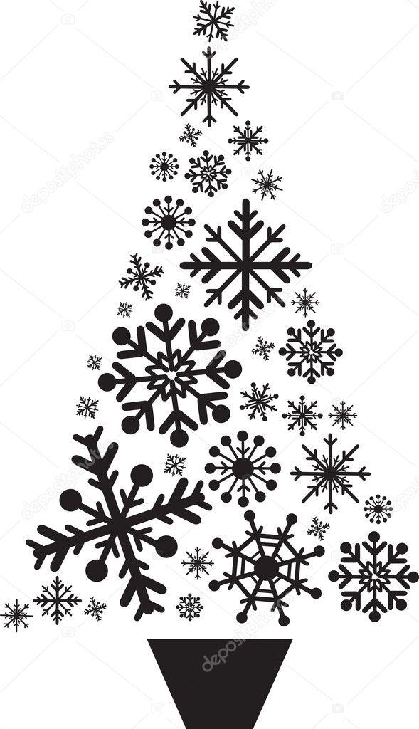 Stock Photo Christmas Tree Snowflakes on Snow 1 3 Inches