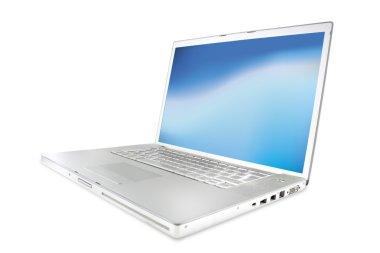 Modern shiny silver laptops