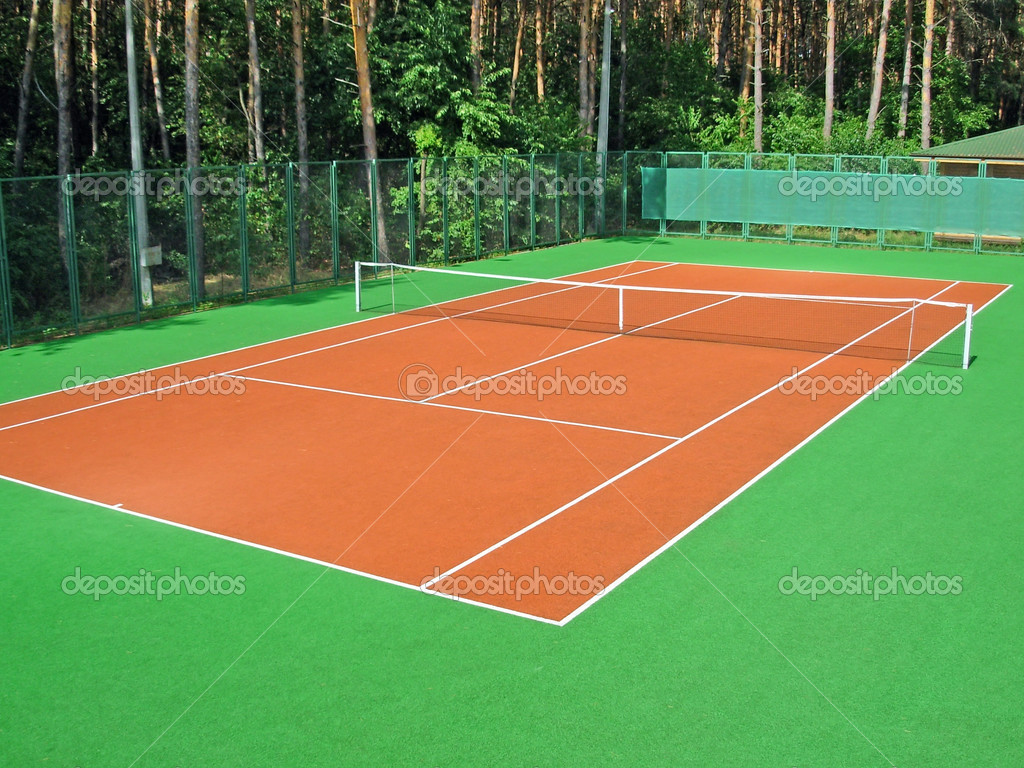 Tennis court in coniferous wood