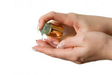 Woman hands pouring gel moisturizer