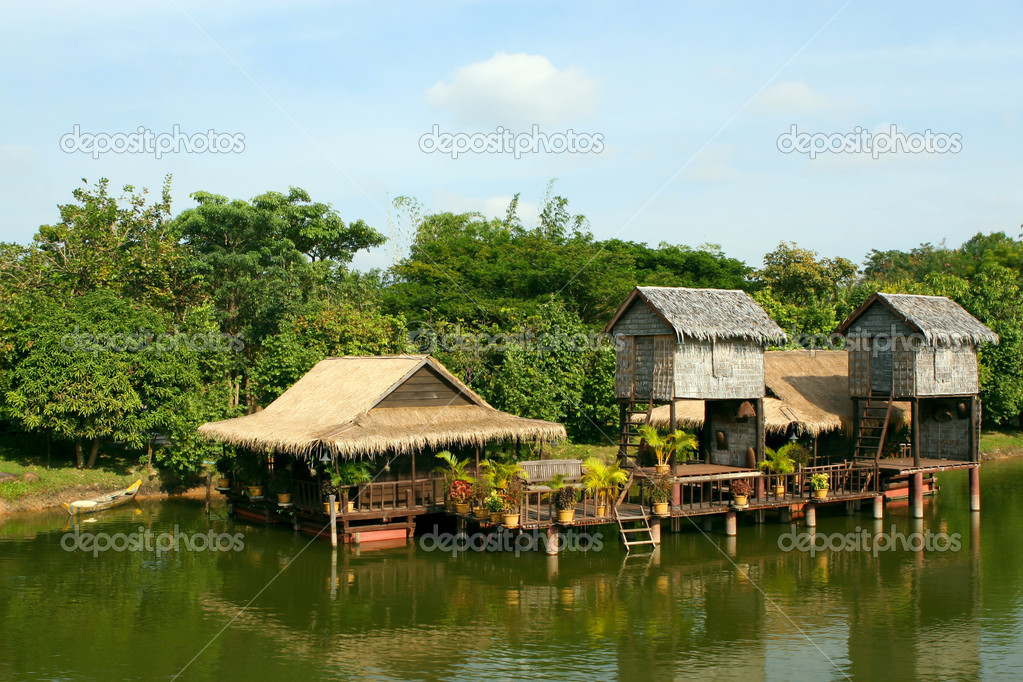 Houses on stilts.Cambodia.