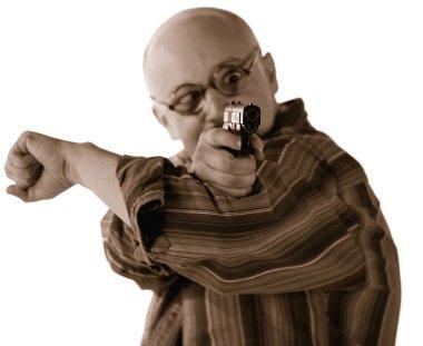 Funny man shooting a gun