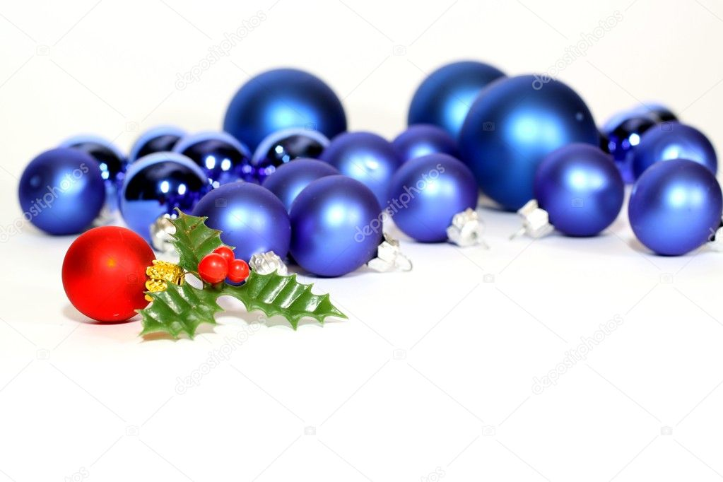 Lots of blue Christmas balls