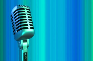 Retro microphone in blue light