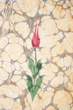 Marbled paper artwork - Tulip design