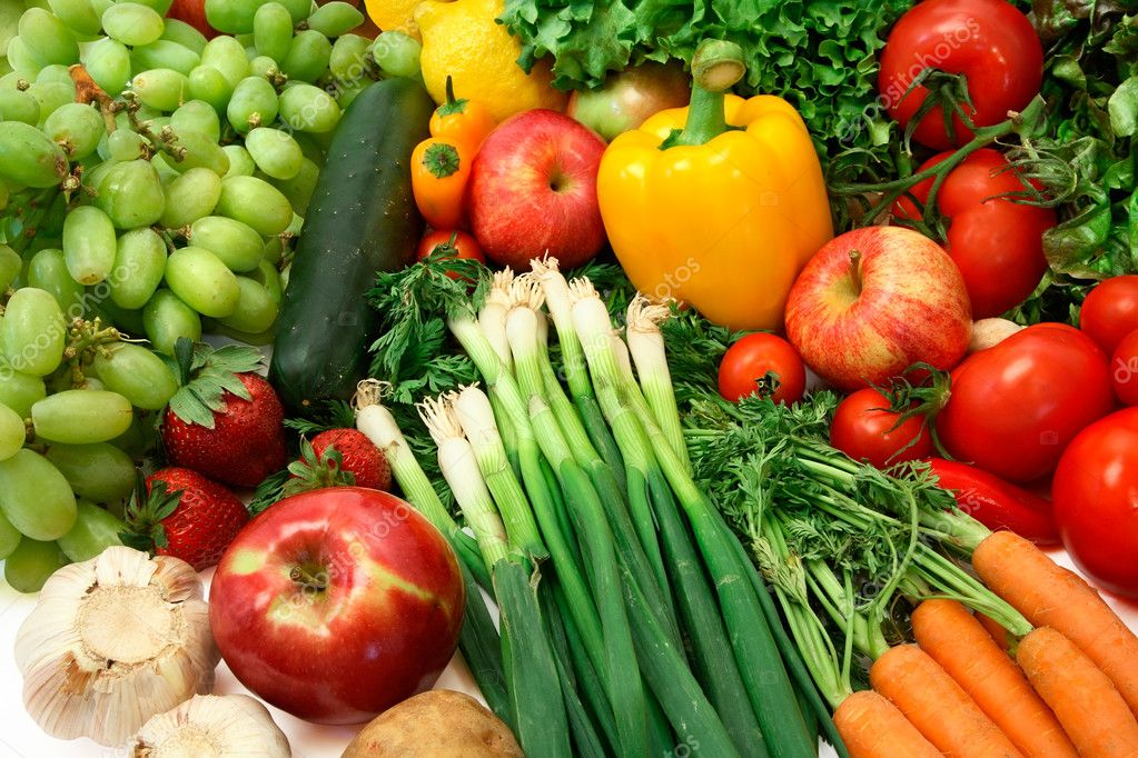 Close-up of Fresh Vegetables and Fruits