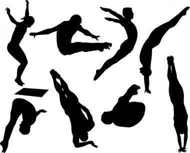 Free style diving silhouettes