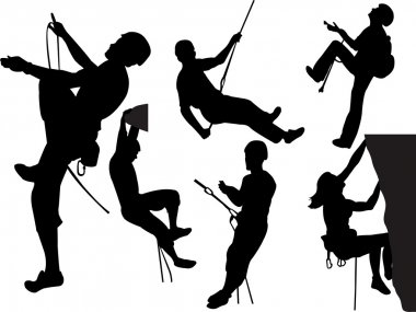 Rock climbers silhouettes collection - vector stock vector