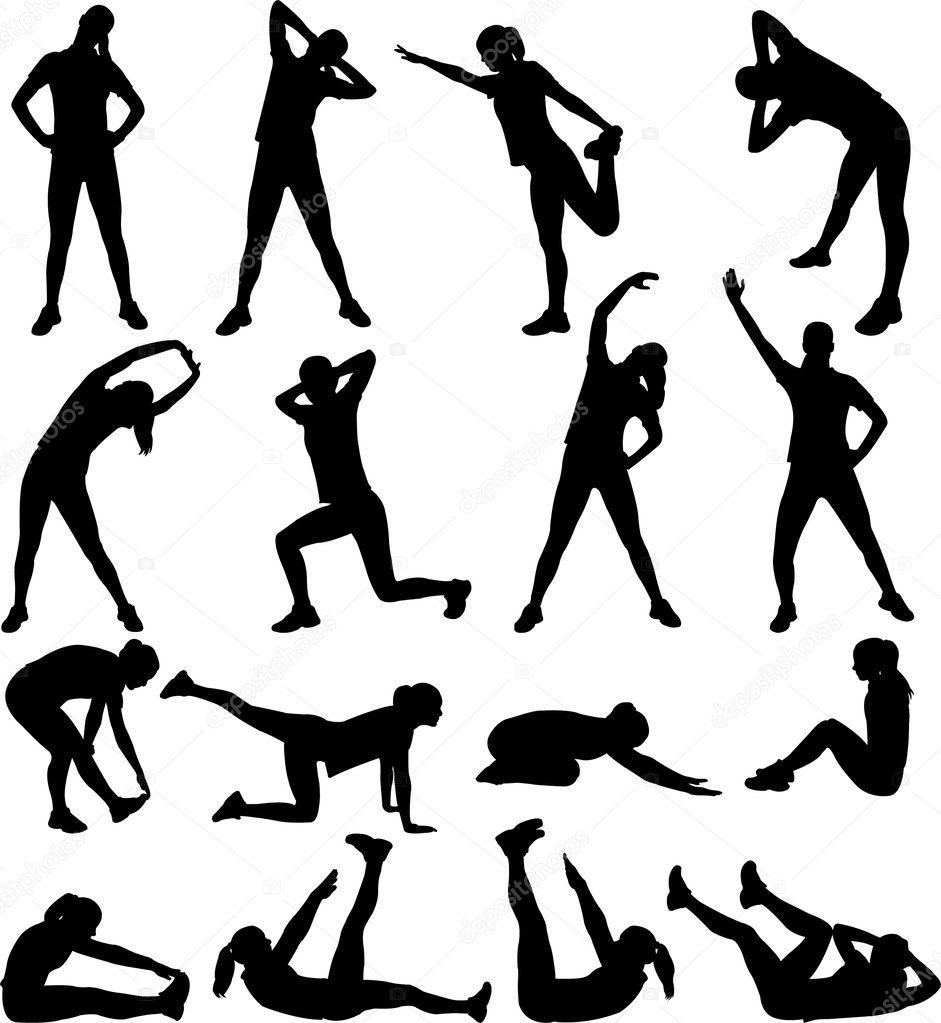 Woman exercising silhouettes