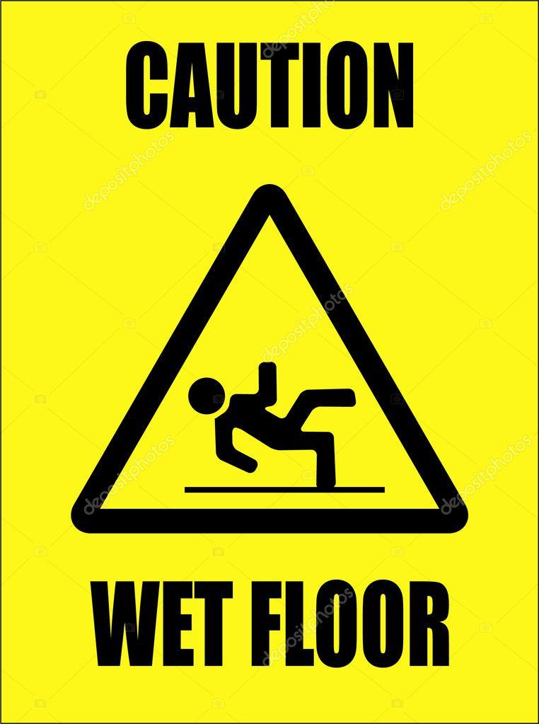 Attention panneau sol humide image vectorielle for Floor banner