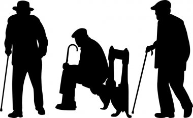 Old men with cane silhouettes - vector stock vector