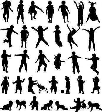 Children silhouettes collection - vector stock vector