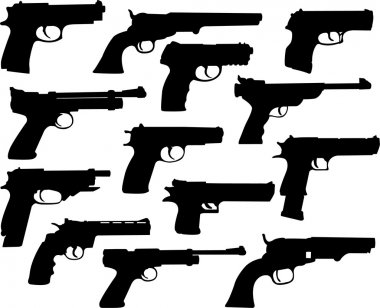 Guns silhouettes collection - vector stock vector