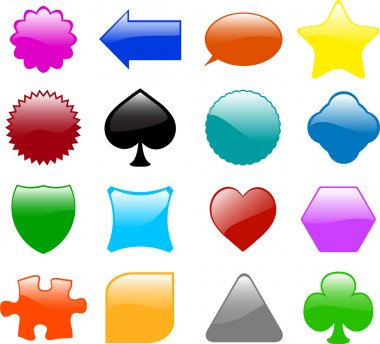 Set of sixteen different glossy shapes - vector stock vector