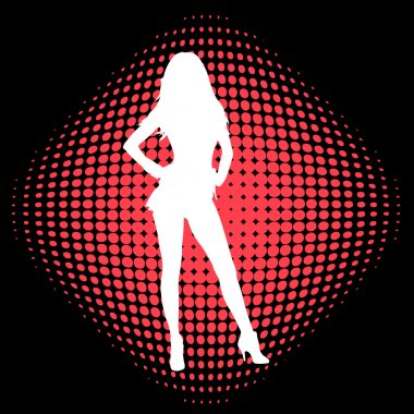 Sexy girl on the halftone background