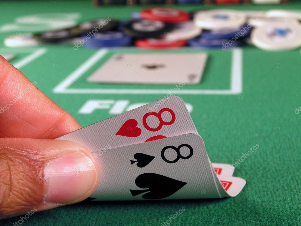 Two eights as a starting hand in a game of texas hold em.