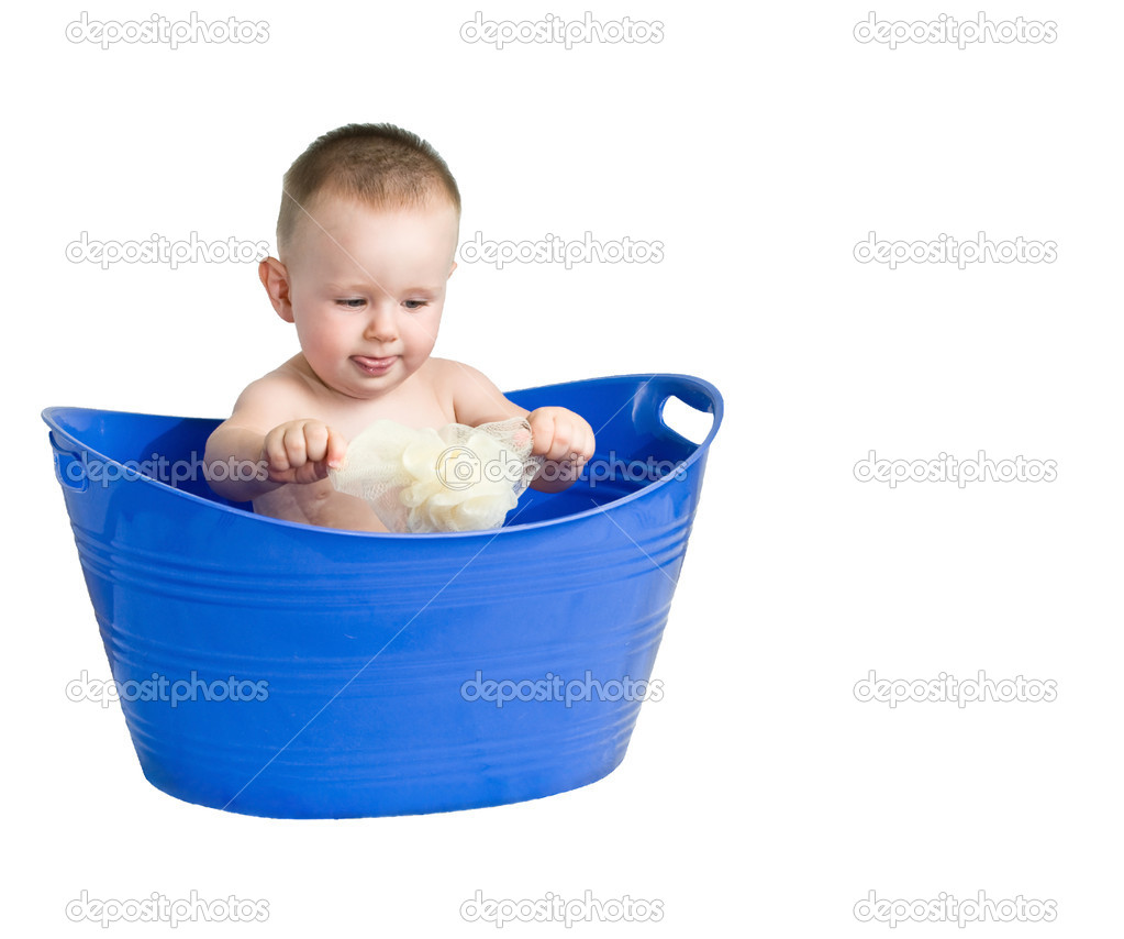 Baby playing in a plastic tub — Stock Photo © rcarner #1989371