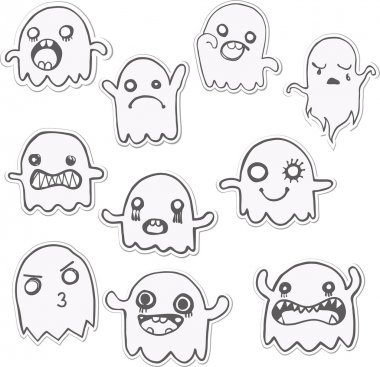 Set of 10 Cute Ghosts Stickers.