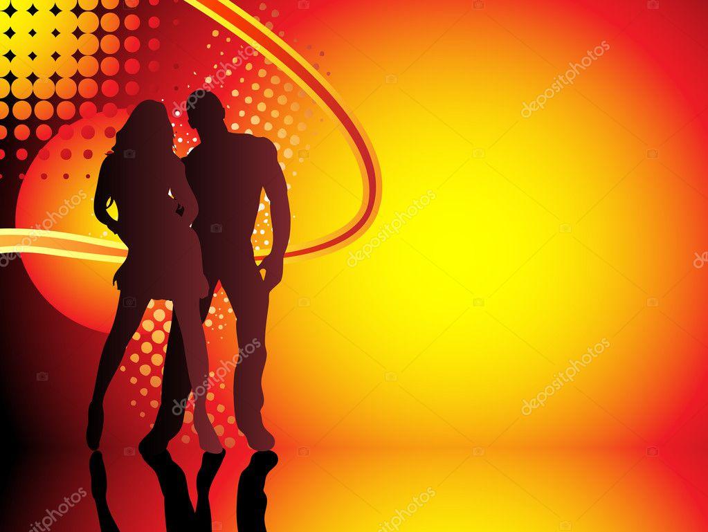 Beautiful couple silhouette