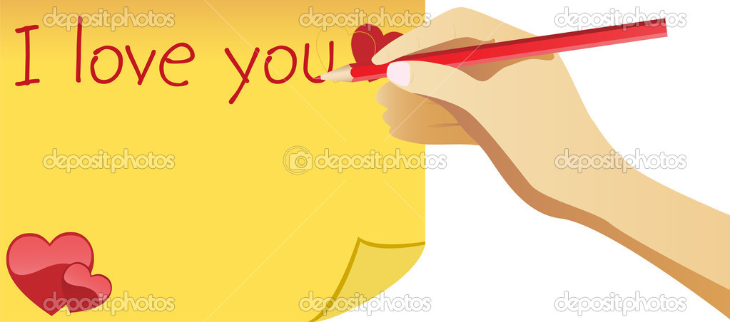 Hand note for valentine's day