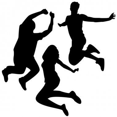 Jump Silhouettes. 3 Friends Jumping.
