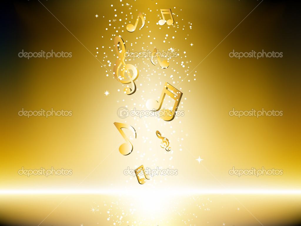 Golden background with music notes