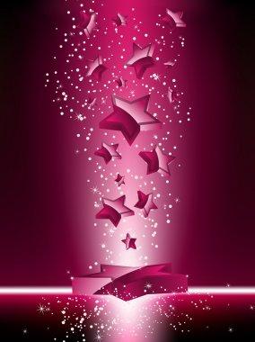 Pink 3D Stars Background.