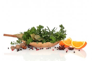 Herbs, Spices and Orange Fruit