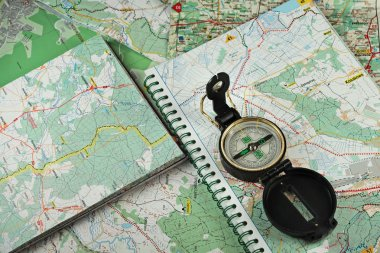 Compass on the detailed maps