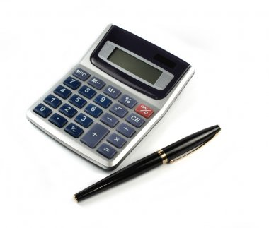 Calculator with pen isolated