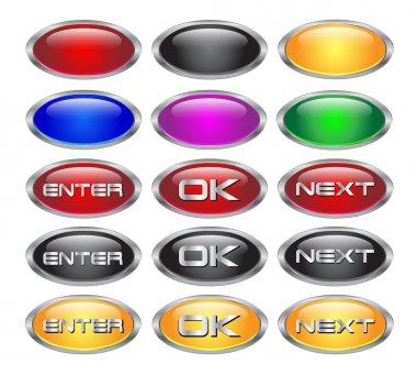 Set of glass metallic blank web buttons