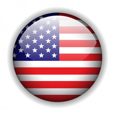 North American flag button, vector