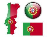 Portugália lobogója, a Térkép és a fényes gomb.