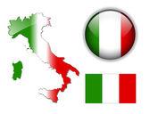 Italia, bandiera italiana, mappa e pulsante.