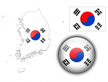 South Korea flag, map and glossy