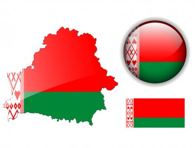 Belarus flag, map and glossy button.
