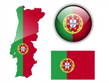 Portugal flag, map and glossy button.