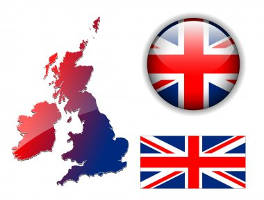 British flag, map, button vector set