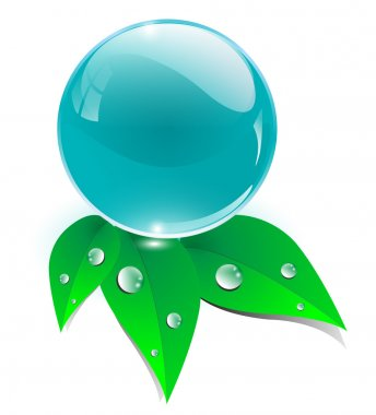Crystal sphere with leaves, ecology icon