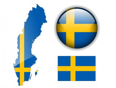 Sweden flag, map and glossy button.