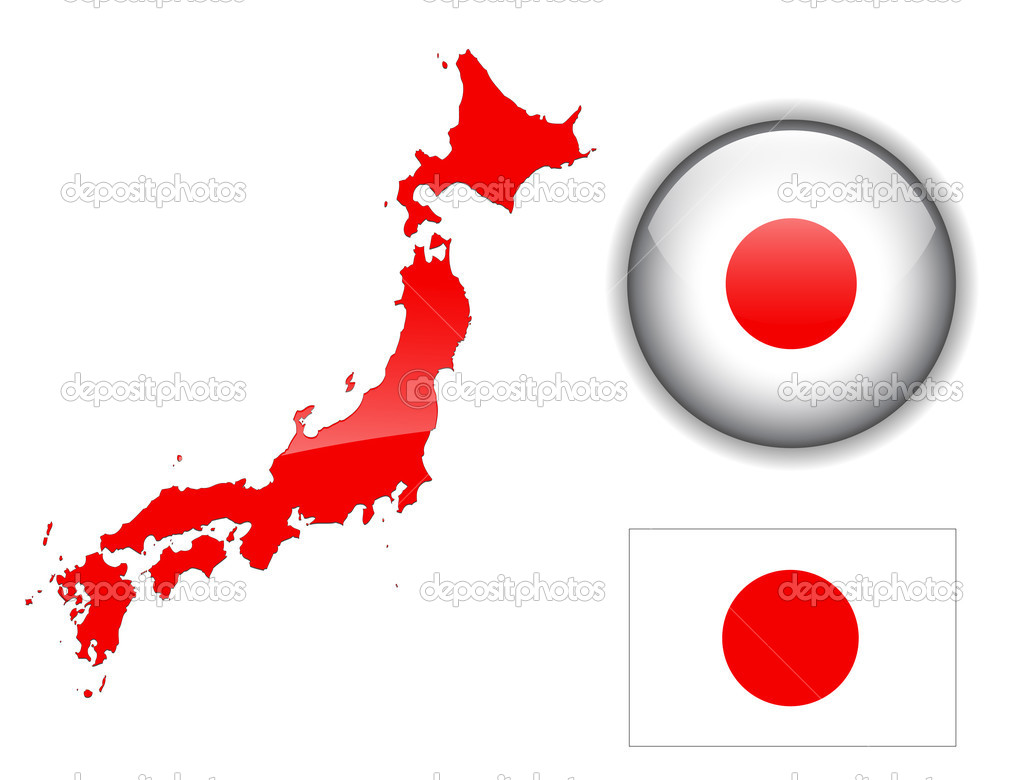 Japan Flag Map And Glossy Button Stock Vector Cobalt - Japan map flag