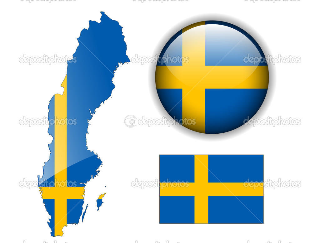 Sweden Flag Map And Glossy Button Stock Vector Cobalt - Sweden map flag